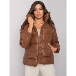 Brown quilted winter jacket made of eco-leather dámské Other L