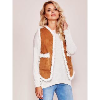 Brown vest with faux fur dámské Neurčeno S
