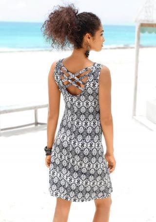 BUFFALO Plážové šaty  antracitová / prírodná biela dámské 36