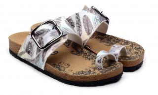 Calceo biele šľapky Thong Sandals Feather - 36 dámské biela 36