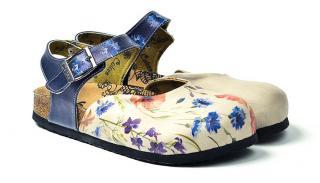 Calceo modré sandále Classic Sandals Wildflowers - 40 dámské modrá 40