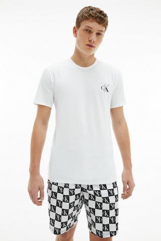 Calvin Klein biele pánske pyžamo S/S Short Set pánské biela M