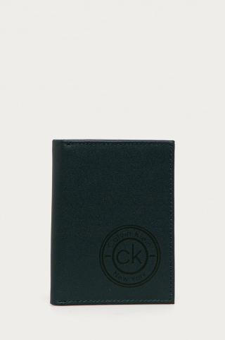Calvin Klein - Kožená peňaženka pánské tmavomodrá ONE SIZE