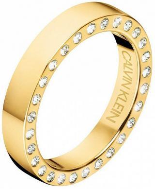 Calvin Klein Luxusné pozlátený prsteň s kryštálmi Hook KJ06JR1401 50 mm dámské