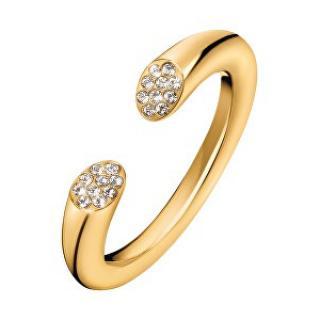 Calvin Klein Otvorený pozlátený prsteň s kryštálmi Brilliant KJ8YJR140100 52 mm