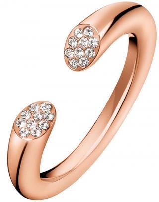 Calvin Klein Otvorený ružovo pozlátený prsteň s kryštálmi Brilliant KJ8YPR1401 55 mm