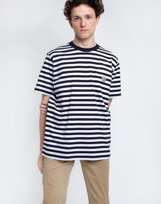 Carhartt WIP S/S Scotty Pocket T-Shirt Scotty Stripe, Dark Navy / White L pánské Pruhy L