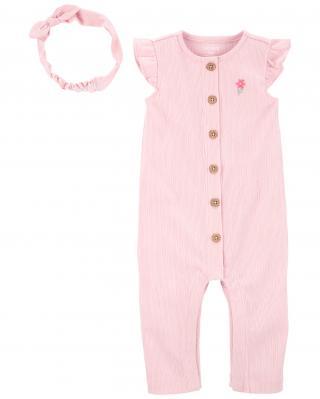 CARTERS Set 2dielny overal na zips bez rukávov, čelenka Pink dievča LBB 6m, veľ. 68