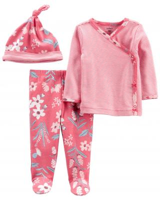 CARTERS Set 3dielny polodupačky, tričko dl. rukáv zavinovacie, čiapka Pink Flower dievča LBB 6m, ve