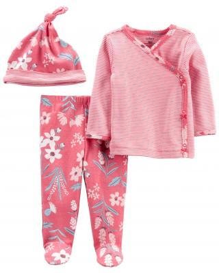 CARTERS Set 3dielny polodupačky, tričko dl. rukáv zavinovacie, čiapka Pink Flower dievča LBB NB, ve