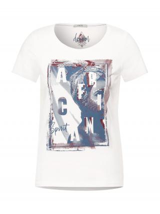 CECIL Tričko  biela / modrá / tmavočervená dámské S