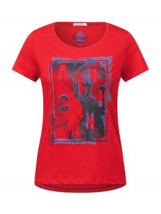 CECIL Tričko  červená / modrá / námornícka modrá dámské L