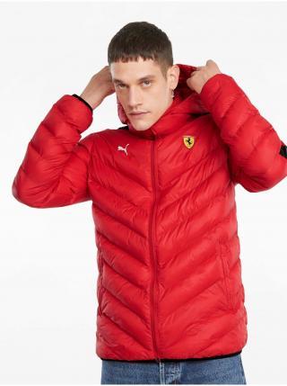 Červená pánska prešívaná bunda Puma Ferrari Race T7 EcoLite Down Jacket pánské L