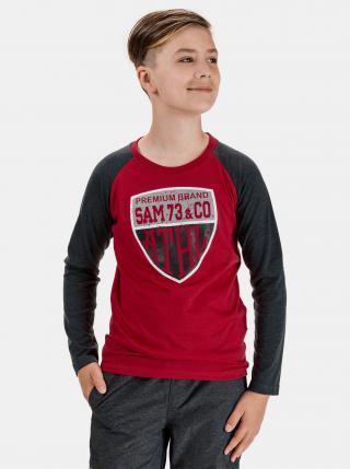 Červené chlapčenské tričko s potlačou SAM 73 červená 140