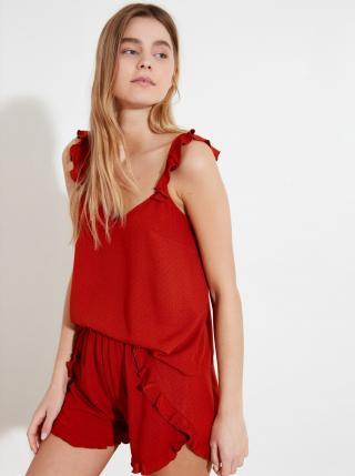 Červené dámske bodkované pyžamo Trendyol dámské červená S
