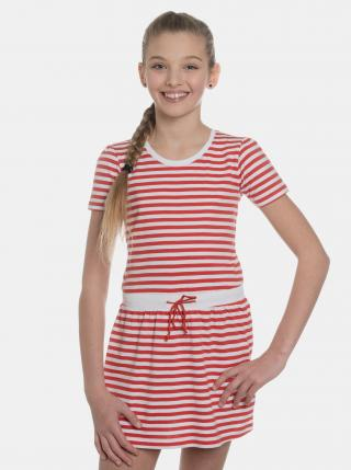 Červené dievčenské pruhované šaty SAM 73 červená 140-146