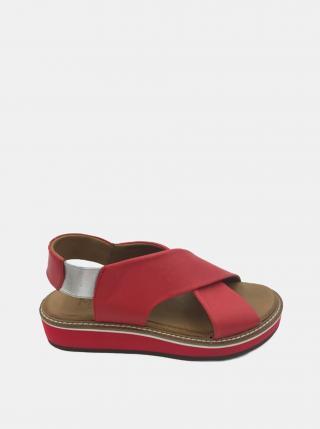 Červené kožené sandálky na platforme WILD dámské červená 38