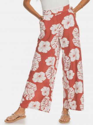 Červené kvetované široké nohavice Roxy dámské tehlová XS