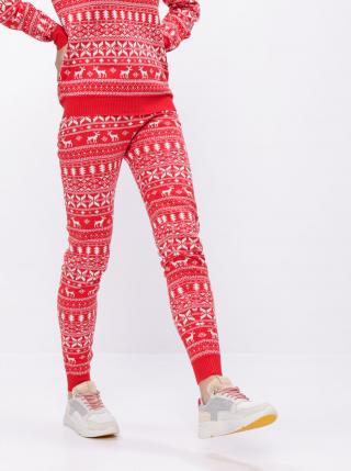 Červené tepláky s vianočným motívom VILA Kosi - XS dámské červená XS