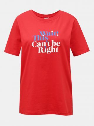 Červené tričko s potlačou Jacqueline de Yong Mille dámské červená S