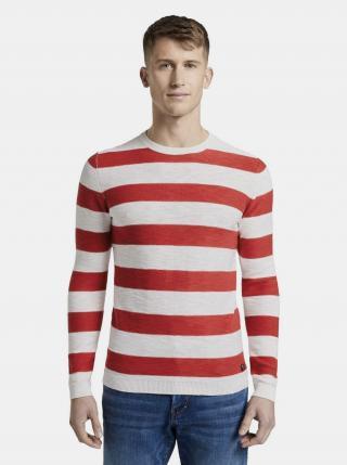 Červeno-biely pánsky pruhovaný basic sveter Tom Tailor Denim pánské červená XXL