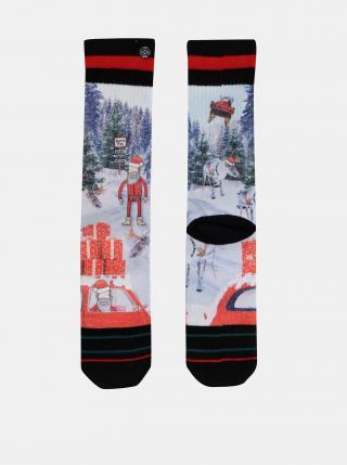 Červeno-modré pánske ponožky s vianočným motívom XPOOOS pánské modrá 39-42
