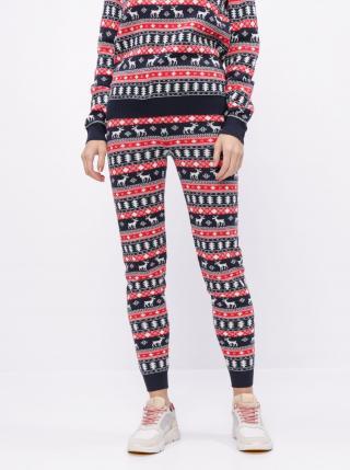 Červeno-modré tepláky s vianočným motívom VILA Wall - S dámské S