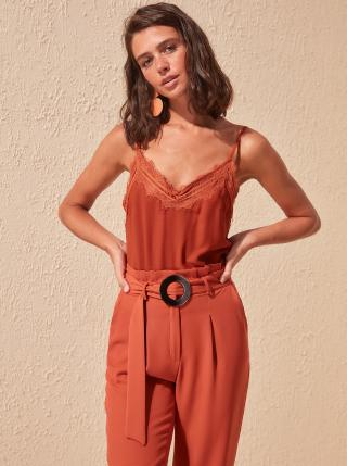 Červený top Trendyol dámské hnedá XL