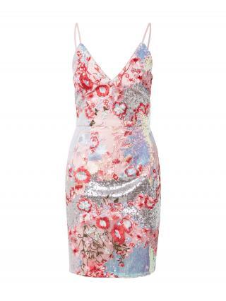 Chi Chi London Šaty  svetloružová / oranžová / strieborná / modrá dámské 36