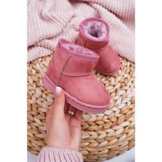 Childrens Insulated Snow Boots Pink Gooby biela | krémová | tmavočervená | ružová 28