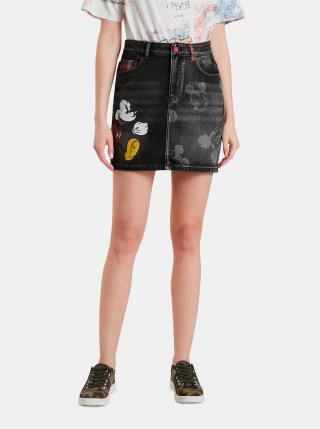 Čierna dámska sukňa s motívom Desigual Mickey dámské XL