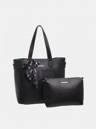 Čierna kabelka s púzdrom a ozdobnou šatkou Bessie London dámské