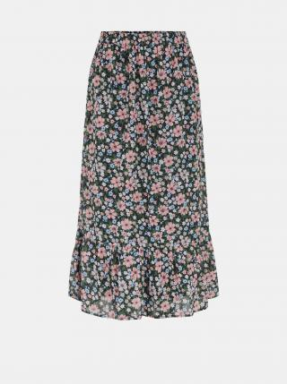 Čierna kvetovaná midi sukňa Pieces Viana dámské S
