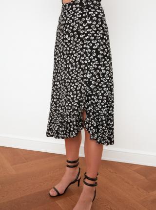 Čierna kvetovaná sukňa s rozparkom Trendyol dámské M