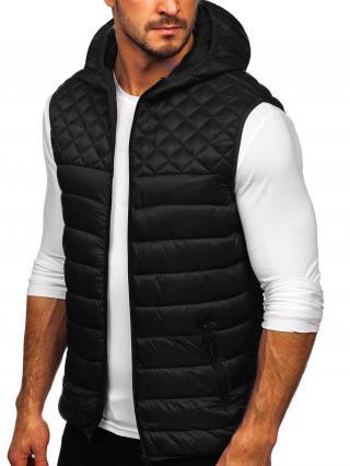Čierna pánska prešívaná vesta s kapucňou Bolf HDL88003 M