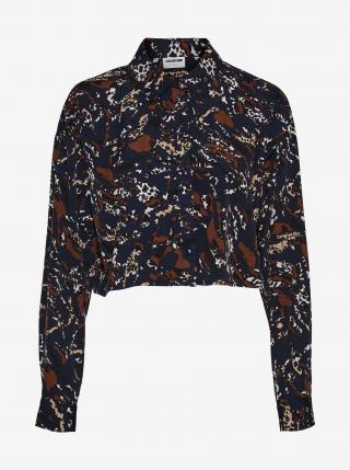 Čierna vzorovaná cropped košeľa Noisy May Molly dámské M