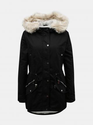 Čierna zimná parka s umelou kožušinkou TALLY WEiJL - XL dámské XL