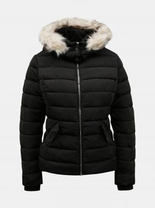 Čierna zimná prešívaná bunda s umelou kožušinkou TALLY WEiJL - M dámské M