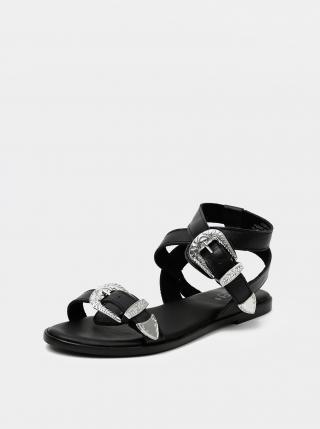 Čierne kožené sandále Pieces Adine dámské čierna 38