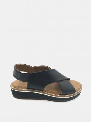 Čierne kožené sandálky na platforme WILD dámské čierna 39