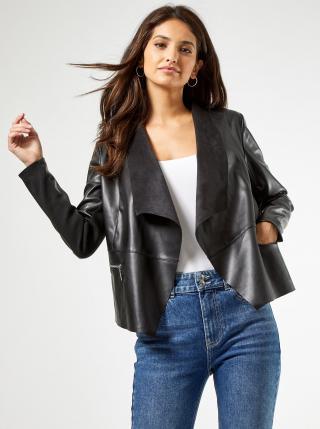 Čierne koženkové sako Dorothy Perkins dámské čierna L