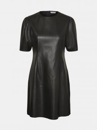 Čierne koženkové šaty Noisy May Hill dámské čierna XS