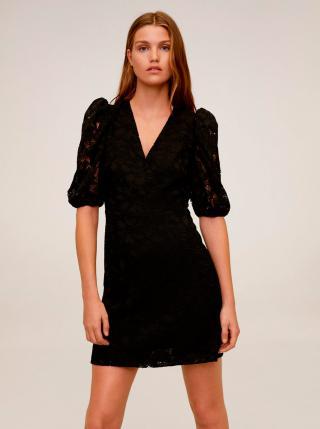 Čierne krajkové šaty Mango Katri dámské čierna M