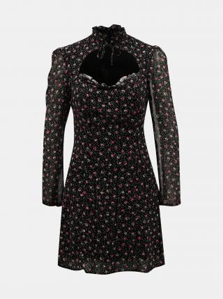 Čierne kvetované šaty so stojáčikom TALLY WEiJL dámské čierna XS
