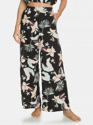Čierne kvetované široké nohavice Roxy dámské čierna XS