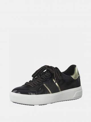 Čierne lesklé tenisky na platforme Tamaris dámské čierna 37