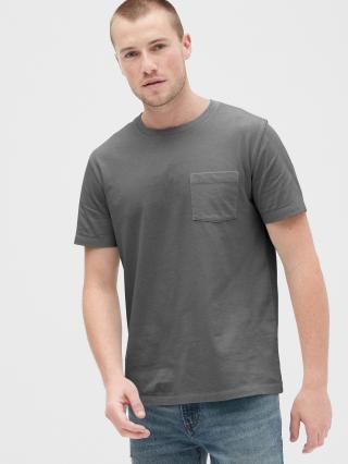 Čierne pánske tričko GAP Pocket pánské sivá XL