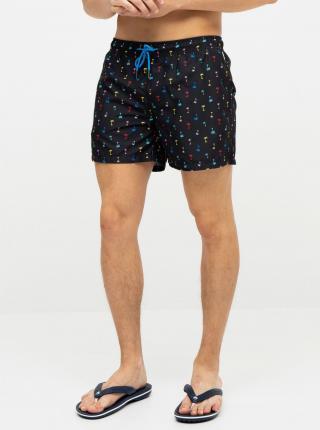 Čierne pánske vzorované plavky Happy Socks Palm Beach - XXL pánské čierna XXL