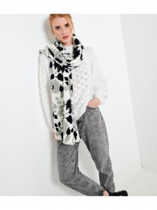 Čierno-biely kvetovaný šál CAMAIEU dámské biela