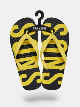 Čierno-žlté žabky ONLY & SONS pánské žltá